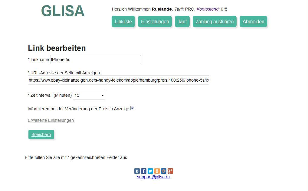GLISA: Ebay Kleinanzeigen Benachrichtigung, autoscout24 ...